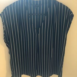 Banana republic navy striped blouse
